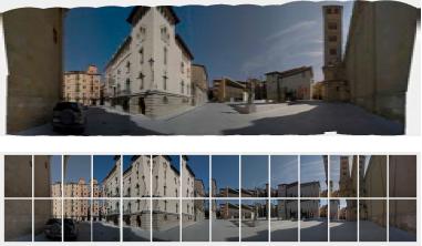 1. T. Bover. Vic, 2008; 2. Diagrama iconogràfic amb les imatges originals per obtenir la figura 1. [Bover i Tanyà, Antoni (2011). Fotografia d'urbanisme: Anàlisis de la imatge fotogràfica en la comunicació visual d'un espai urbà. Tesi doctoral, UPC.]